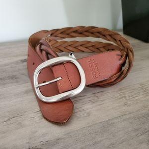 "Fossil ""Vintage"" Tan Braided Leather Belt"